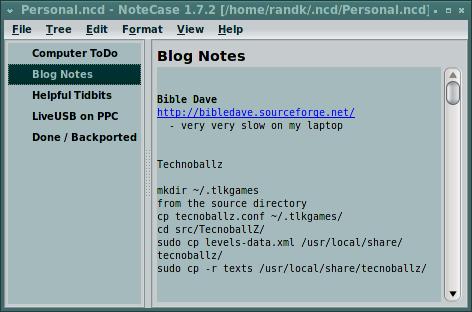 Notecase Screen